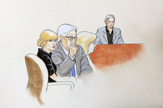 Sketches of Taylor Swift appearing in court